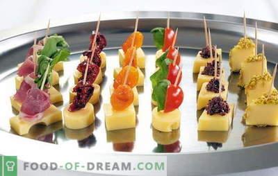Okusne in elegantne dekoracije - preproste kanapee na nabodala. Na praznični mizi: preproste kanapee na nabodala: načini serviranja