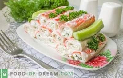 Antipasto di bastoncini di granchio è un gustoso piatto a base di prodotti dietetici. Le migliori ricette per snack caldi e freddi da bastoncini di granchio