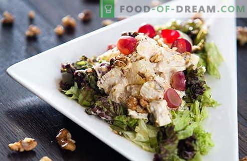 Vištienos ir graikinių riešutų salotos yra geriausi receptai. Kaip tinkamai ir skaniai paruošti salotą su vištiena ir riešutais.
