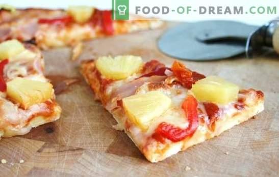 Pineapple Pizza - Italian Pie with Exotic Taste! Cucinare diverse pizze con l'ananas: salato, speziato, dolce