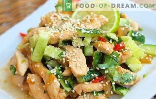 Insalata con petto di pollo e cetrioli - un antipasto, che non si vergogna di trattare. Le migliori ricette per insalate con petto di pollo e cetriolo