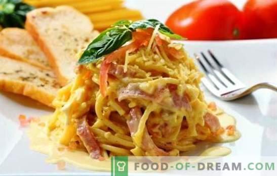 Spaghetti al prosciutto - ricette semplici e complesse, classico e salsa. E anche una pizza insolita fatta con spaghetti con prosciutto