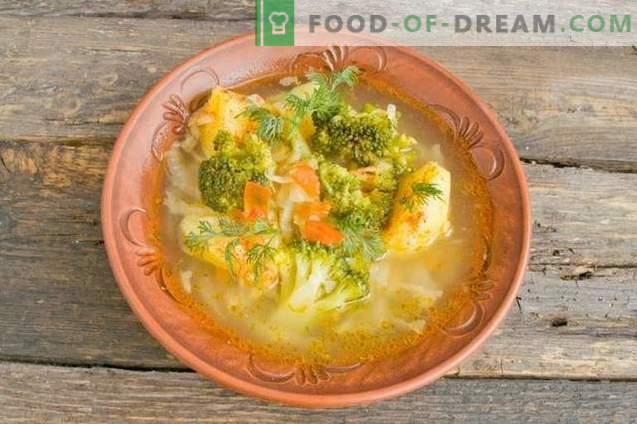 Deliziosa zuppa magra con patate e broccoli