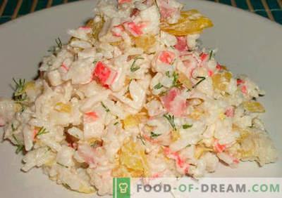 Krabju salāti ar rīsiem pierādītām receptēm. Kā pagatavot krabju salātus ar rīsiem.