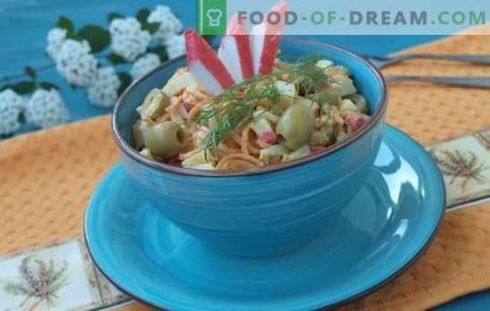 L'insalata di granchio con le carote è uno spuntino economico. Ricette per insalata di granchio con carote: nutriente e light dietetico