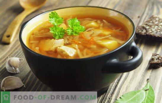 Ricette per zuppe di cavolo fresco, zuppa di cavolo, borscht. Pesce e carne,