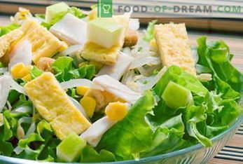 Рецепти за салати. Мимоза салата, Цезар, грчки, пилешко, рак ...