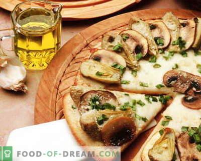 Pizza con funghi - le migliori ricette. Come cucinare correttamente e gustosa pizza ai funghi.
