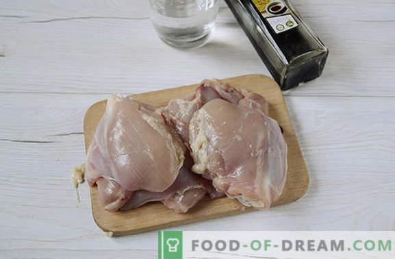 Gebratenes Hähnchen in Sojasauce in einer Pfanne - in 20 Minuten! Autorenrezept für Schritt für Schritt für gebratenes Hühnchen in Sojasauce