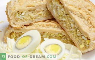 Sfogliatina con cipolle, uova: con e senza lievito. Torta di ricette originali con cipolle e pasta sfoglia all'uovo