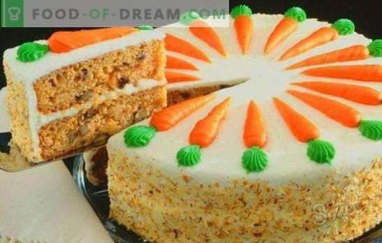 Torta di carote classica - dessert autunnale succoso. Torta di carote classica con spezie, crema di formaggio, noci, cioccolato