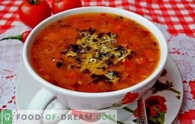 Zuppa con pomodori - un classico. Ricette mondiali per cucinare zuppe con pomodori: gustoso, salutare, insolitamente