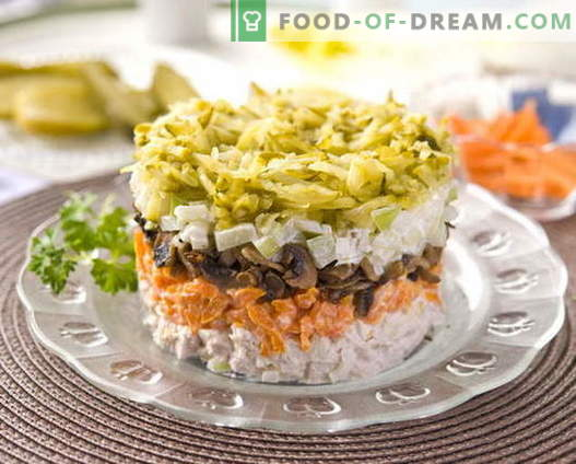 Insalata di pollo a strati con le migliori ricette. Come cucinare correttamente e gustosa insalata di soffio con pollo.