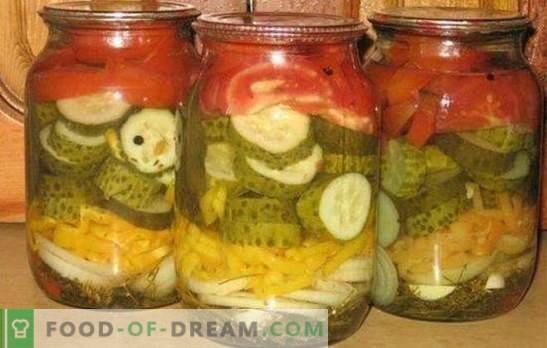 L'insalata di cetrioli e pomodori per l'inverno è un utile complesso vitaminico. Ricette classiche e originali di insalata di cetrioli e pomodori per l'inverno
