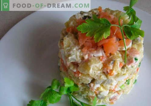 Insalata con salmone salato - le ricette giuste. Insalata cotta rapidamente e gustosa con salmone leggermente salato.