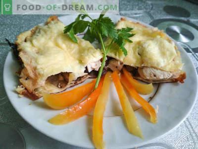 Ricetta per brezza con funghi e pollo: un piatto della cucina francese, ricetta di cucina con foto